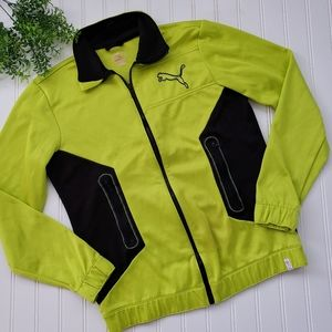 Puma Bright Green Black Full Zip Track Jacket sz S